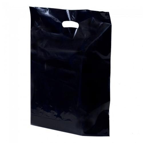 Black Polythene Punched Handle Carrier Bag (200x300mm) 500/box