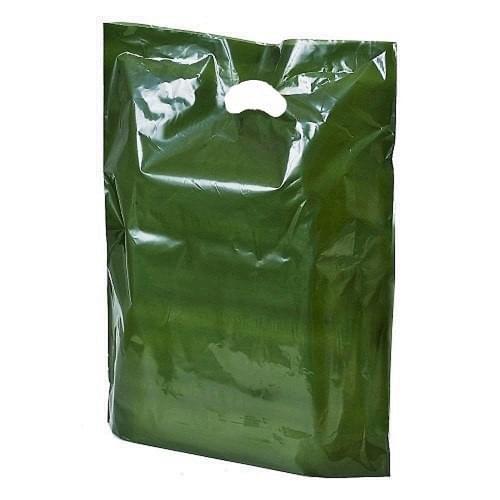 Harrods Green Polythene Varigauge Carrier Bag (250x400mm) 500/box