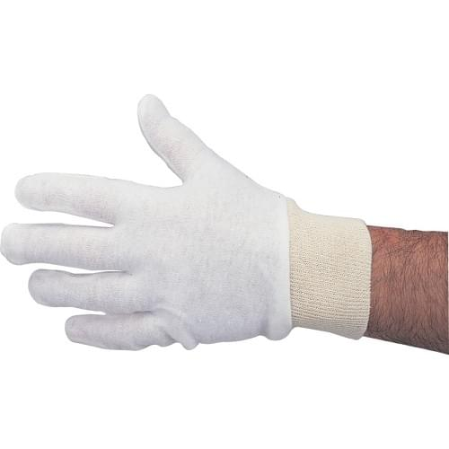 White Cotton Stockinette Gloves (One Size) 12 Pack