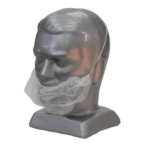 Disposable PPE Beard Mask White Polythene 100 Per Box