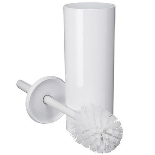 Toilet Brush Set Closed White Plastic