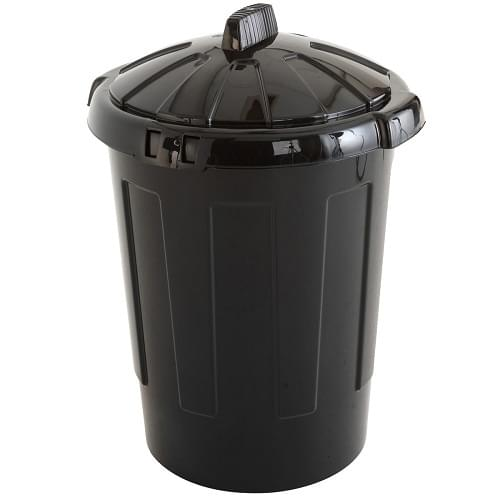 Dustbin & Lid Black Plastic