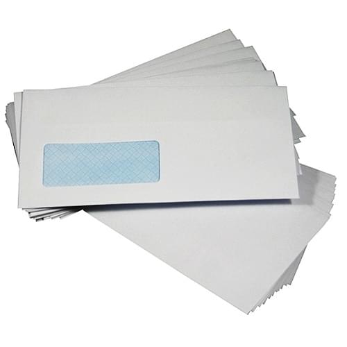 Envelope DL 110x220mm White Window Self Seal 90gsm Box 1000