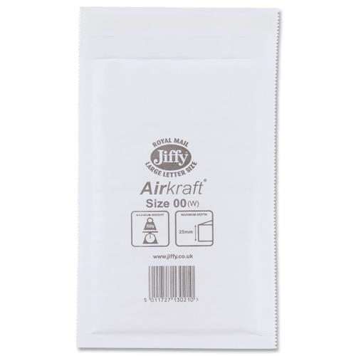 Jiffy Bag Bubble Lined Airkraft White 115 x 195mm