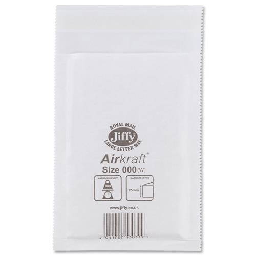 "Jiffy Bags Airkraft White Size 3 220x320mm (8.1x12.6"") 50/box"