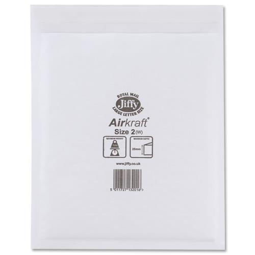Jiffy Bag Bubble Lined Airkraft White 205 x 245mm