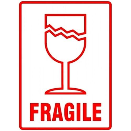 Fragile Packaging Labels (108x79mm) 500 per roll