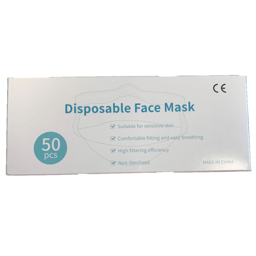 Disposable Face Mask covering  3 Ply  - Pack 50