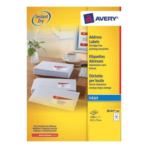 Avery Quick Dry Addressing Labels 12 per Sheet (1200 labels)