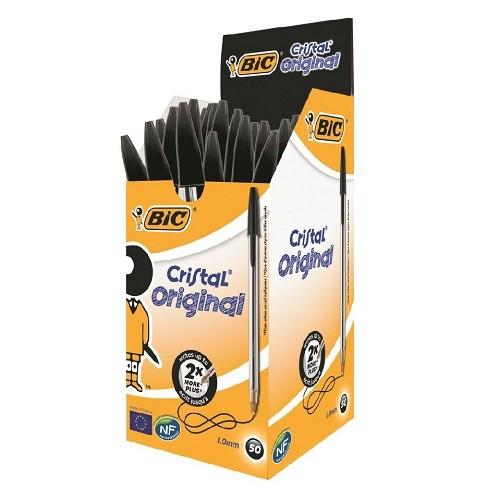 Bic Cristal Medium Ballpoint Black Pen (Pack of 50)