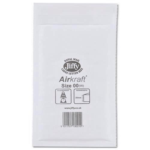 "JL00 Jiffy Bags Airkraft White Size 00 115x195mm (4.5x7.7"") 100/box"