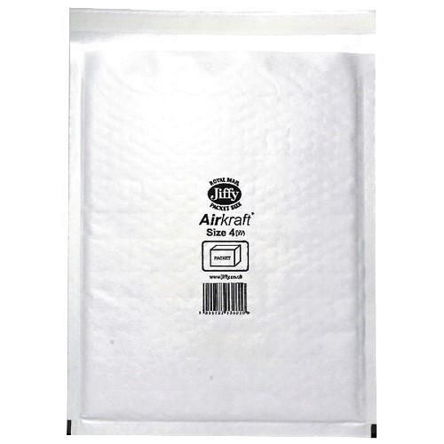 "JL4 Jiffy Bags Airkraft White Size 4 240x320mm (9x12.6"") 50/box"
