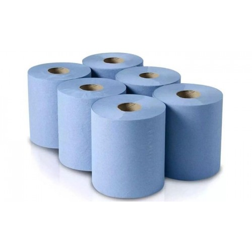 Centre-Feed 2 Ply Blue couch rolls Pack 6