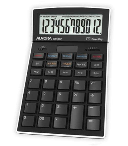 Aurora Desktop Calculator 12-digit Black DT920P