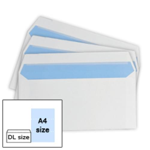 DL (110 x 220) WHITE P/Seal Envs 90g Bx1000