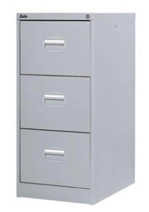 3 Drawer Metal Filing Cabinet Lockable Grey