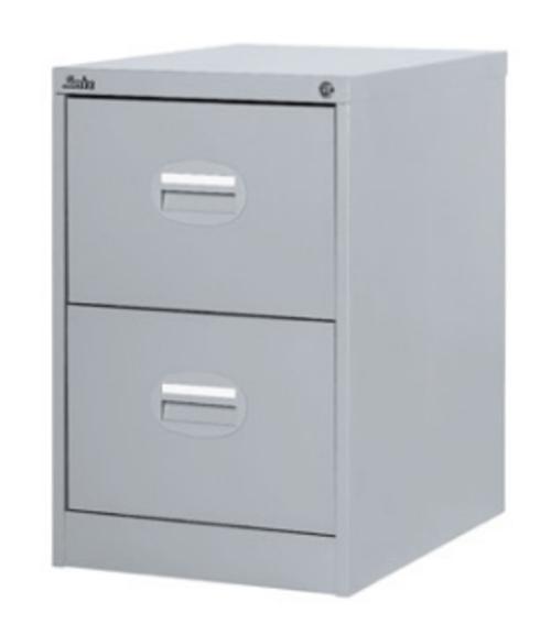 2 Drawer Metal Filing Cabinet Grey Lockable