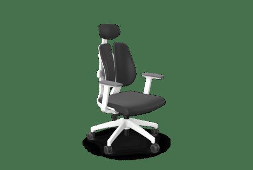 Duorest Ergonomic Chair, Adj. Arms - Grey Fabric Seat, Black Vinyl Headrest, White Base