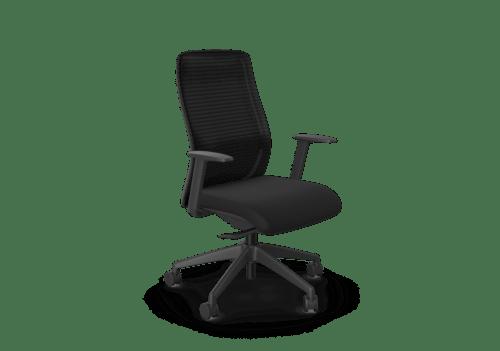 NV Chair Adj. Arms, Mesh Back, Black Base, Black Fabric Seat