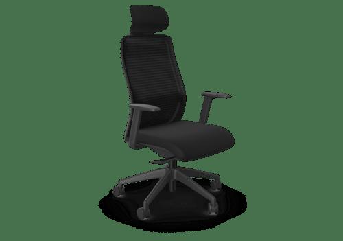 NV Chair Adj. Arms, Mesh Back, Black Base, Black Fabric Seat Plus Headrest
