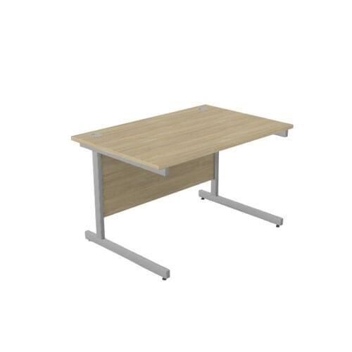 Ashford Metal Leg 1200mm x 800mm Straight Desk - Silver Leg / Urban Oak Top