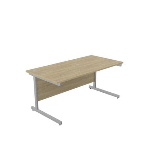 Ashford Metal Leg 1600mm x 800mm Straight Desk - Silver Leg / Urban Oak Top