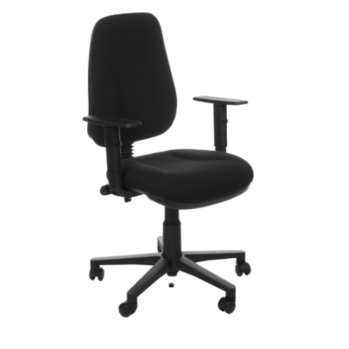 Evo Chair with Adjustable Arms - Black Fabric