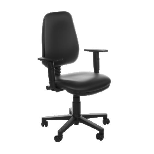 Evo Chair with Adjustable Arms - Black Vinyl