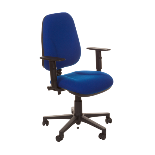 Evo Chair with Adjustable Arms - Blue Fabric