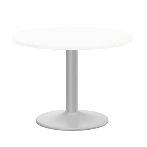 Kito Meeting Table 1000mm Round Top Silver Cylinder Base - White