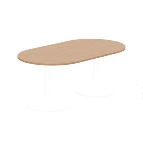 Kito Meeting Table Oval White Cylinder Base 1800w x 1000d - Beech