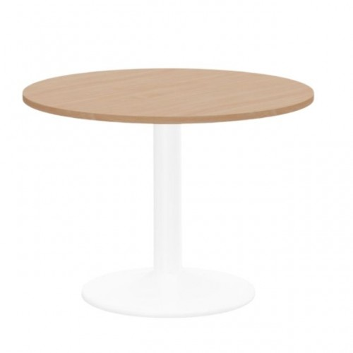 Kito Meeting Table 1200mm Round Top White Cylinder Base - Beech