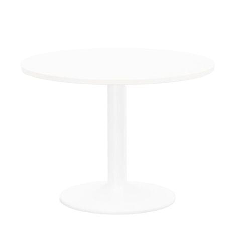 Kito Meeting Table 1000mm Round Top White Cylinder Base - White