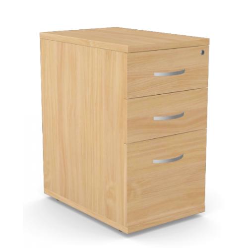 Kito Contract Desk High Pedestal 3 Drawer 600mm Deep - Beech