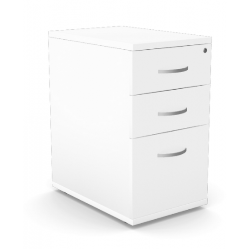 Kito Contract Desk High Pedestal 3 Drawer 600mm Deep - White