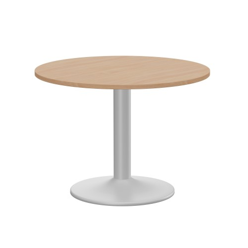 Kito Meeting Table 1000mm Round Top Silver Cylinder Base - Beech