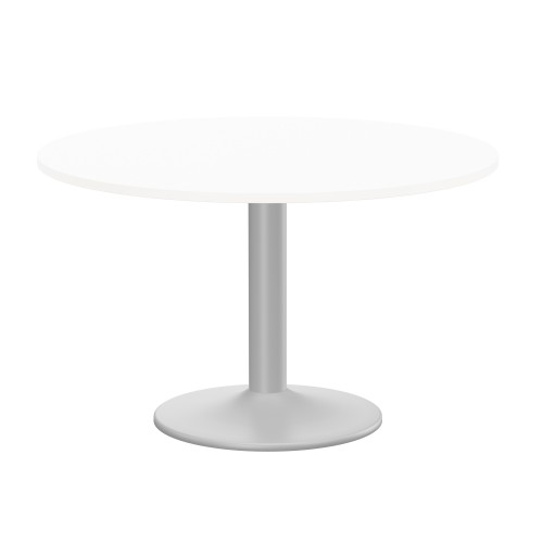 Kito Meeting Table 1200mm Round Top Silver Cylinder Base - White