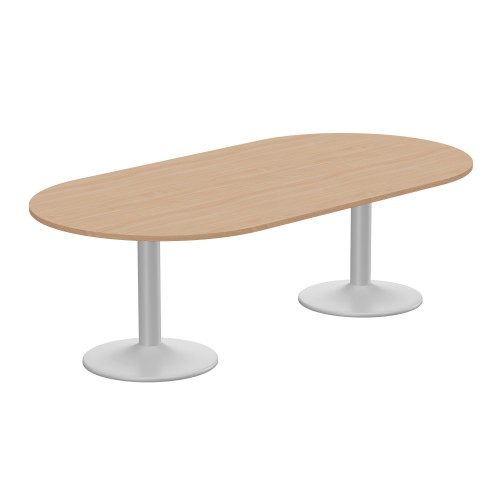 Kito Meeting Table Oval Silver Cylinder Base 2400w x 1200d - Beech