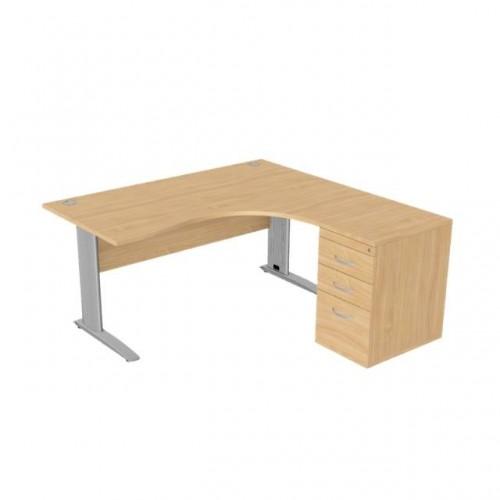 Komo Crescent Desk 1600 x 1200mm R/Hand - Silver Leg / Beech Top with Desk High Ped