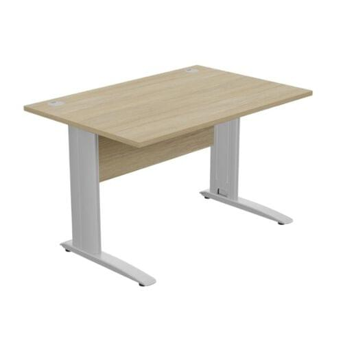 Komo Straight Desk 1200 x 800mm - Silver Leg / Urban Oak Top