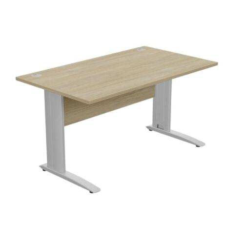 Komo Straight Desk 1400 x 800mm - Silver Leg / Urban Oak Top