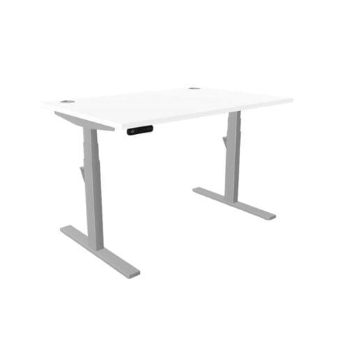 Leap Single Desk Top With Portal, 1400 x 800mm - White / Silver Frame