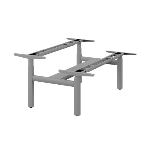 Leap Double Bench 3 Stage Electric Adjust Frame with 2 Handsets and Telescopic Cable Tray- Silver