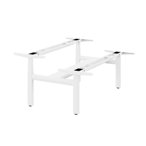 Leap Double Bench 3 Stage Electric Adjust Frame with 2 Handsets and Telescopic Cable Tray - White