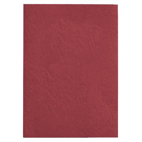 GBC LeatherGrain Binding Covers Plain A4 Red Pack 100