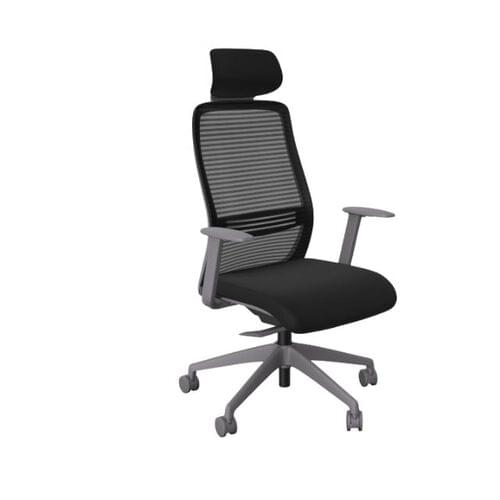 NV Chair Adj. Arms, Mesh Back, Grey Base, Black Fabric Seat Plus Headrest