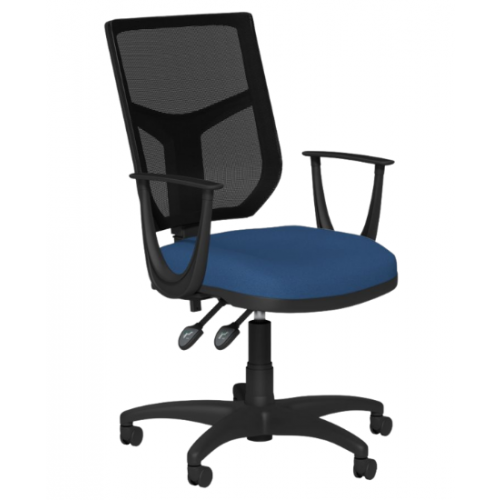 O.A. High Back Mesh Chair 2 Lever Nylon Base Sonata Arms - Black Mesh - Evert Blue E031