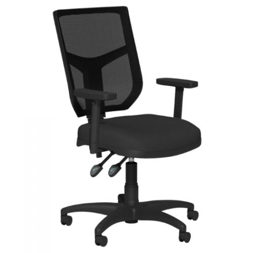 O.A. High Back Mesh Chair 2 Lever Nylon Base Step Arms PP - Black Mesh - Evert Blue E031