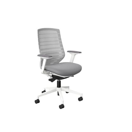 MCC-X.77 Chair, White Base, Grey Mesh