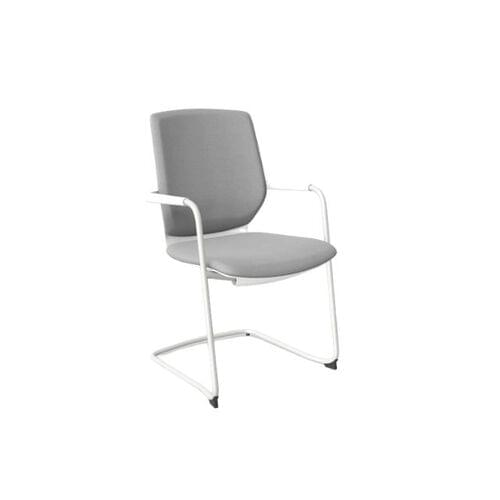 MCC - Y.88 Meeting Chair, Sliding Seat, White Frame, Grey Fabric HY2205
